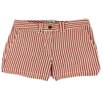 Women's Shorts in White and Crimson Seersucker by Olde School Brand - FINAL SALE