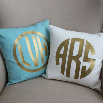 Monogram Pillow Cover | CHOOSE Borders, Pillow Cover, Gold or Silver Foil, Slate Blue, Ivory Coral  monogram pillow wedding name