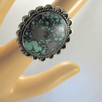 Sterling Turquoise Ring, Spiderweb Turquoise, Vintage Native American Navajo Turquoise Ring Size 7.50 Knuckle Ring