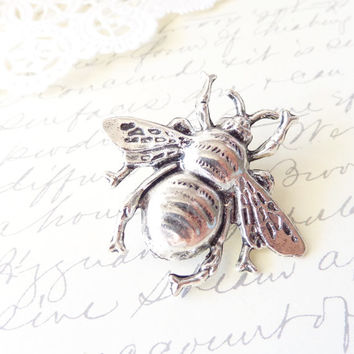 Silver Bumble Bee Hair Clip - Ox Silver Bumblebee - Woodland Hair Pin - Wedding Hair - Wings - Nature