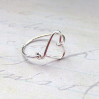 Sweetheart Ring Heart Ring Silver Ring Wire Wrap Ring I Love You Ring Friendship Ring Bridesmaids Gift Jewelry Gifts Under 10