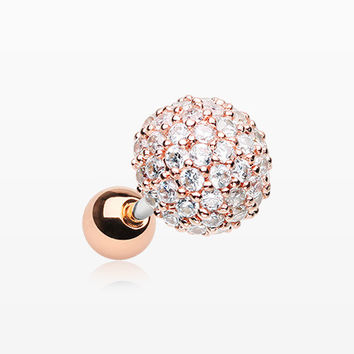 Rose Gold Grand Sparkle Multi-Gem Paved Dome Cartilage Tragus Earring