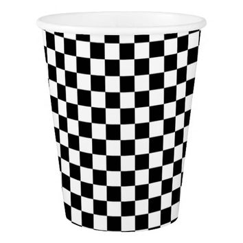 Black and White Checkerboard Paper Cup