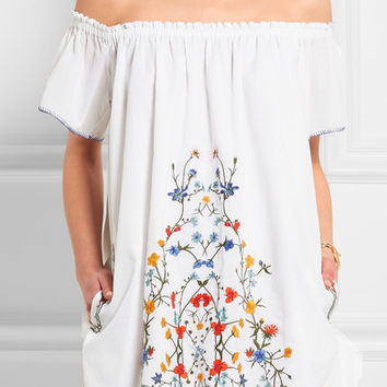 Tory Burch - Monterosso off-the-shoulder embroidered cotton-voile mini dress