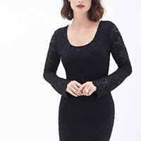 LOVE 21 Lattice-Back Lace Sheath Dress