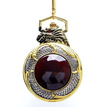 Evil Dragon Luxury Pocket Watch Gold Case Red Garnet Inset Women Black Dial Full Hunter New Men Pendant FOB Watch