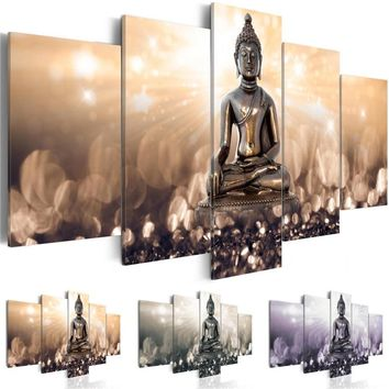 Abstract Canvas Art Painting 5 Pieces Cupreous Buddha Meditation East Wall Art Clinquant Background Living Room Home Decor