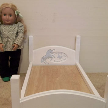 Handcrafted American Girl doll size bed unicorn dreams can come true butterfly carvings