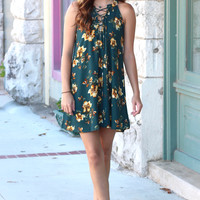Changing Colors Floral Tie Up Dress {Sea Green}