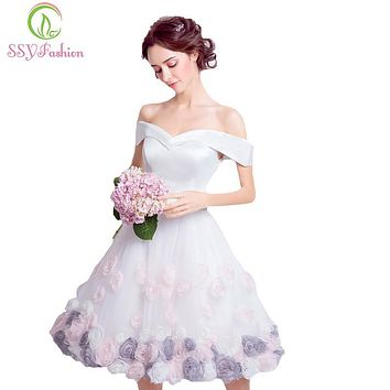 SSYFashion 2017 New White Satin with Rose Flower Short Cocktail Dress The Bride Banquet Sweet Knee-length Formal Party Gowns