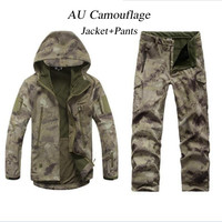 Men Women TAD Gear Soft Shell Camouflage Outdoor Wargame Jacket Set Army Sport Waterproof Hunting Uniform Clothes Jacket Pants