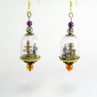 Miniature steampunk glass dome earrings - tiny factory with miniature little people working inside, made from upcycled gears and cogs