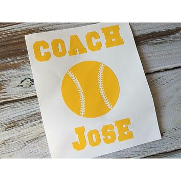 Baseball or softball coach vinyl decal