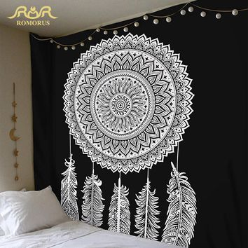 ROMORUS Indian Mandala Tapestry Hippie Wall Hanging Tapestry Multifunctional Bohemian Decorative Feather Tapestries Yoga Mats