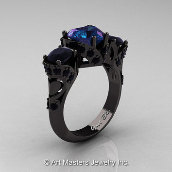 Scandinavian 14K Black Gold 2.0 Ct Heart Alexandrite Black Diamond Three Stone Designer Engagement Ring R434M-14KBGBDAL