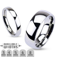 4mm Glossy Mirror Polished Traditional Wedding Band Ring 316L Stainless Steel
