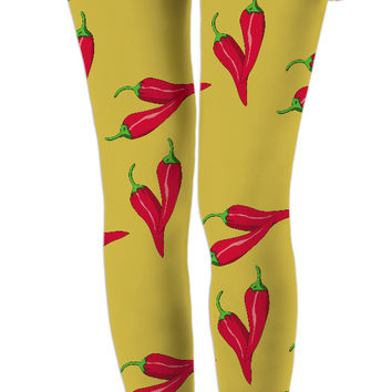 Gold spicy pattern, red chili pepper asymetric theme, girls leggings design