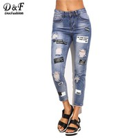 Dotfashion Blue Ripped Letter Printed Skinny Ankle Pants Women Trousers Mid Waist Cropped Button Fly Jeans