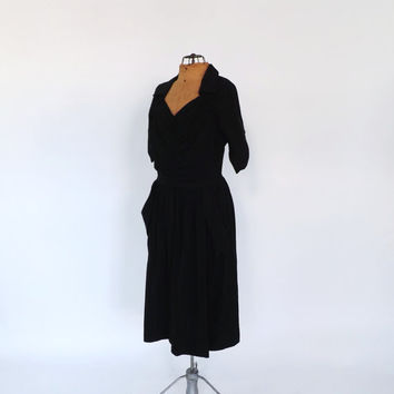 Vintage 1940s 1950s Black Dinner Dress Party Vintage Cocktail Gown Elegant Vogue Couture Silk Taffeta 40s Marilyn Monroe Size Medium