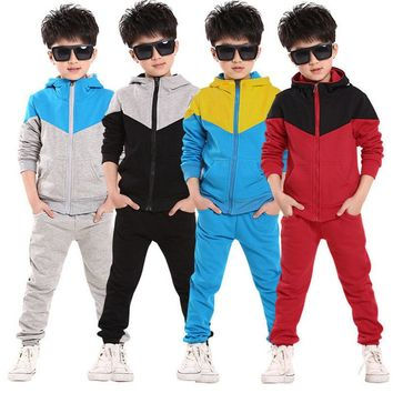 Children School Jogging Tracksuit Set Hooded Coat + Pants Kids Boy Baby Spring Autumn 2017 Clothes Sports Suit 4 6 8 10 12 Years