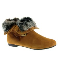 Women's Karyn's Fur Trimmed Cuffed Ankle High Boots Dusty-W-SU Tan