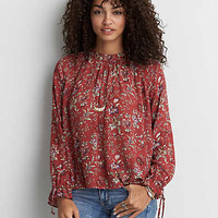 AEO Mock Neck Printed Top , Rust