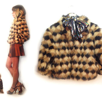 Vintage 1970's Debby Harry Faux Fur Glam Rock Chubby Cropped Patchwork Cheetah Coat || Size Small To Size Medium