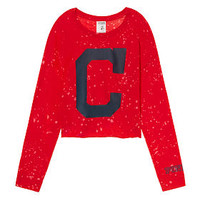 Cleveland Indians Campus Long Sleeve Shrunken Tee - PINK - Victoria's Secret