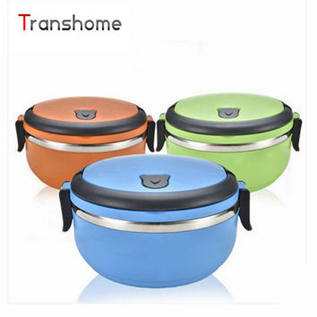 TRANSHOME 1Pcs Double Locks Round Shape Stainless Steel Thermal Bento Lunch Box No-Leak With Handle Food-Grade bowl