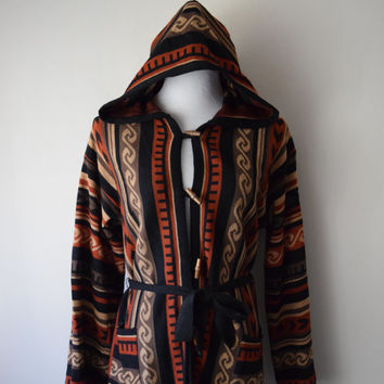 70s Belted Sweater Jacket w Hood // Earth Tone Brown Geometric Tribal Print // Boho Chic Bohemian Woodstock Festival Fashion, Fall Trends