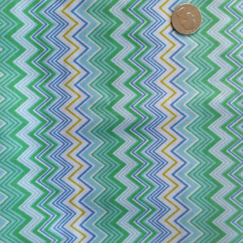 Chevron fabric zigzag blue green cotton quilt print sewing project quilting material BTY by the yard quilter sewer crafting crafter cloth
