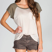 Chloe K Womens Hi Low Raglan Tee Cream Combo  In Sizes