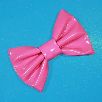 Mini Bubblegum Pink PVC Hair Bow