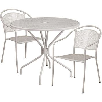 35.25'' Round Indoor-Outdoor Steel Patio Table Set with 2 Round Back Chairs