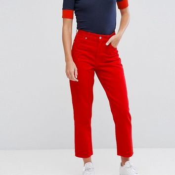 Monki Taiki Red Crop Jeans at asos.com
