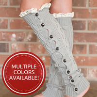 Buttons & Lace Leg Warmers-Multiple Colors