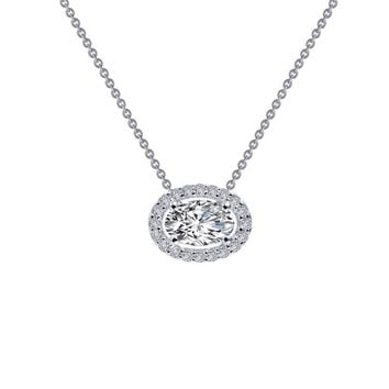 Lafonn Sterling Silver Oval Halo Simulated Diamond Necklace
