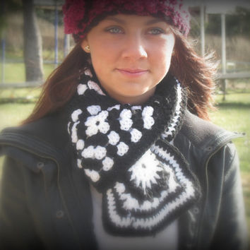 Ready to ship black and white granny square scarf