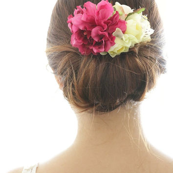 Bridal Hair Accessory, Pink Peony & Light Yellow Flower, Silk Flower Hair comb, Bridesmaid, Rustic Chic Romantic outdoor wedding woodland