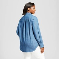 Women's Plus Size Denim Button Down Shirt - Ava & Viv™ Medium Wash