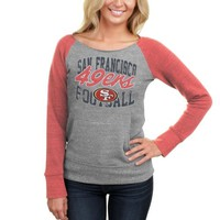 San Francisco 49ers Women's Tri-Blend Fleece Raglan Sweatshirt - Ash/Scarlet