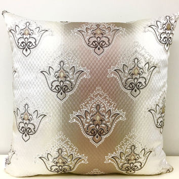 Beige Pillow Cover, Satin Jacquard Pillows, Beige Pillow, Pillows, Throw Pillows, Decorative Pillows, Beige Satin Woven Sofa Pillow Covers