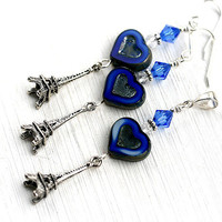 VALENTINE SALE Eiffel Tower Jewelry, Blue Heart Earrings, France, Paris, French Blue, Heart Jewelry set, French inspired by MayaHoney