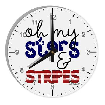 "Oh My Stars and Stripes - Patriotic Design 8"" Round Wall Clock with Numbers"