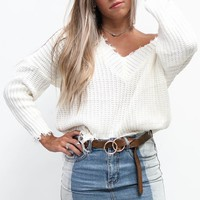 My One Frayed V-Neck White Sweater - Amazing Lace