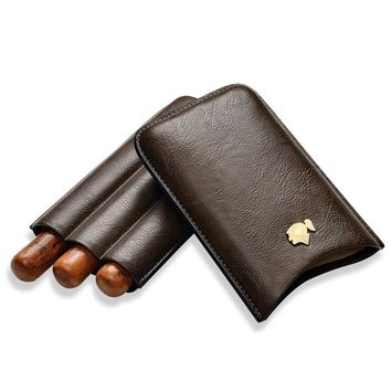 Cohiba Portable Travel cigar pouch Leather humidors Cigar case Leather moisturizing pouches Cigar Accessories(hold 3 pcs)