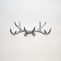 Chrome Faux Antler Mount - Antler Wall Rack - Antler Wall Hook - Resin Antler Wall Decor