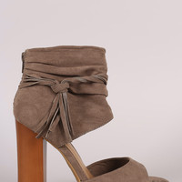 Bamboo Tassel Ruched Ankle Cuff Chunky Heel
