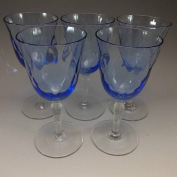 Cordial Goblets Blue Crystal Diamond Optic Bar Wine Stemware Vintage Lot 5