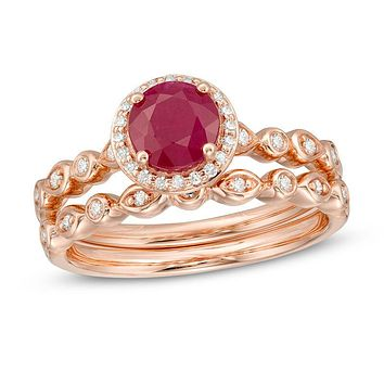 6.0mm Ruby and 1/5 CT. T.W. Diamond Frame Geometric Shank Bridal Engagement Ring Set in 14K Rose Gold